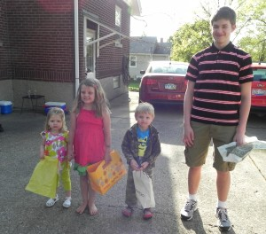 The four contestants for the egg hunt!